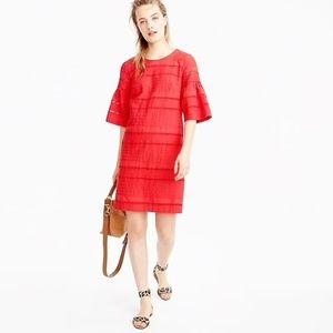 J. Crew red flutter sleeve eyelet shift dress